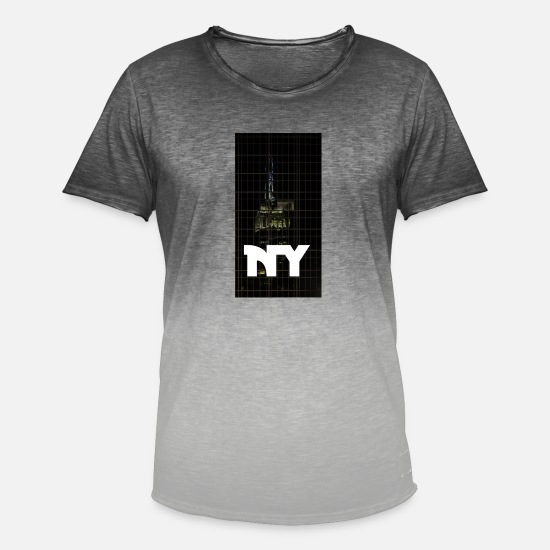 New World Order T-Shirts - new York - Men's Colour Gradient T-Shirt dip dye grey