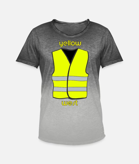 Birthday T-Shirts - Yellow vests, yellow, west, demo, protest, cool - Men's Colour Gradient T-Shirt dip dye grey