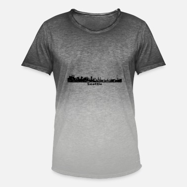 Seattle Seahawks Seattle Skyline Panorama Space Needle - Mannen kleurverloop T-Shirt