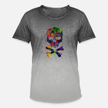Skull And Crossbones Colorful skull with bones - Men's Colour Gradient T-Shirt