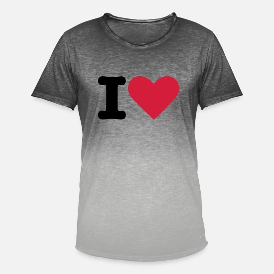 Hjerte T-shirts - I Love - T-shirt i colour-block-optik mænd Dip Dye grå