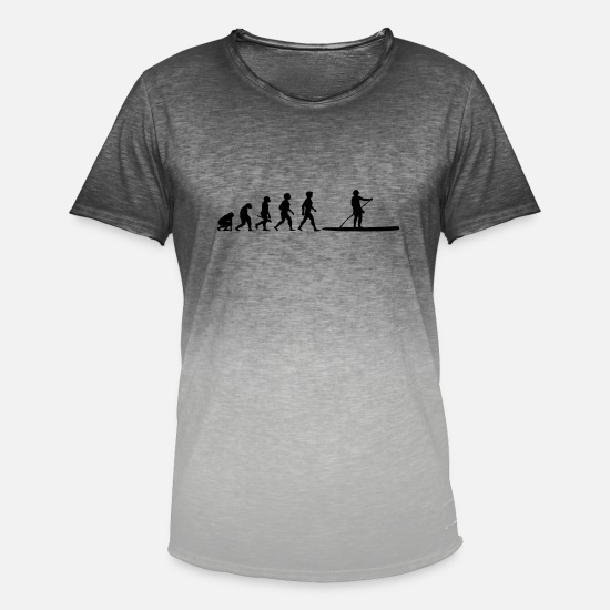 Stand T-Shirts - Evolution Stand Up Paddling Paddle Stand Up Paddle SUP - Men's Colour Gradient T-Shirt dip dye grey