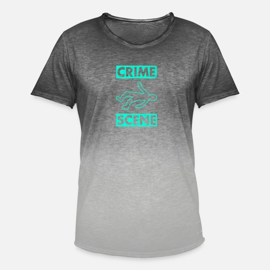 Die T-Shirts - Crime scene murder crime scene Crime - Men's Colour Gradient T-Shirt dip dye grey