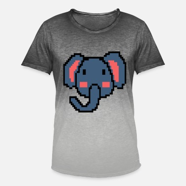 Animal Planet Pixel Elephant Retro Animal Vintage Gamer Gift - Maglietta con scoloritura uomo