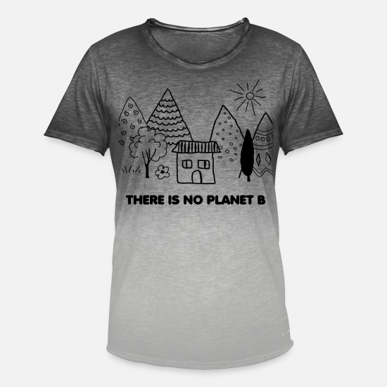Enviromental T-Shirts - THERE IS NO PLANET B - Men's Colour Gradient T-Shirt dip dye grey