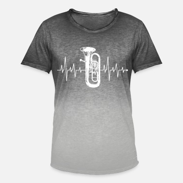 Tuba Heartbeat Heartline Heart Rate Tuba Shirt - T-shirt i colour-block-optik mænd