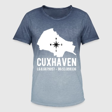Latitude Cuxhaven latitude latitude city outline - Men's T-Shirt with colour gradients