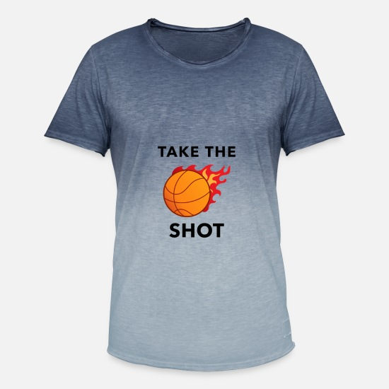 Basketball T-shirts - basketbal hobby winnaar teamtoernooi dunk game - Mannen kleurverloop T-Shirt Dip Dye blauw
