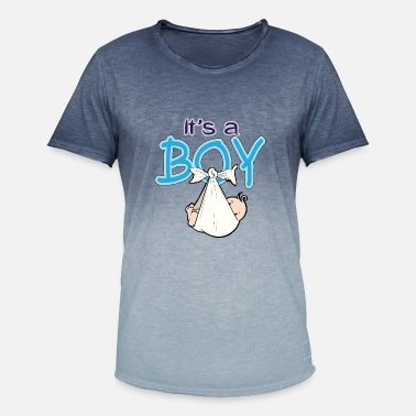 Shower Baby Shower Boy Blue - T-shirt med färgtoning herr