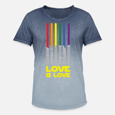 Pride Love Is Love Lightsaber Rainbow, Love Is Love - Men's Colour Gradient T-Shirt