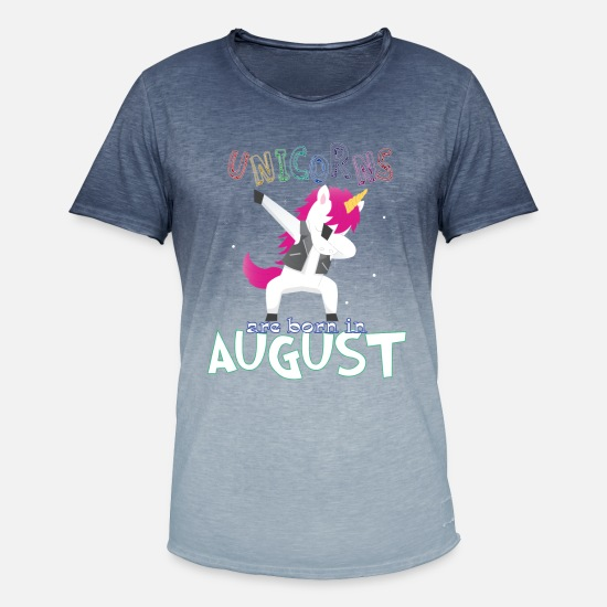 Quote T-Shirts - Born Unicorns-Born August - Men's Colour Gradient T-Shirt dip dye denim