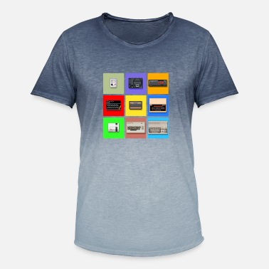 Zx Spectrum Pixel Retro Gaming Machines Squares - Men's Colour Gradient T-Shirt