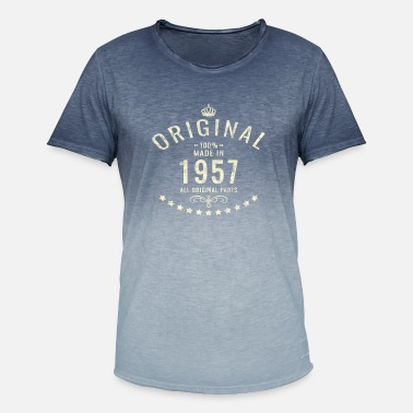 1957 Vintage brugte Original Retro Made i 1957 Bday gift - T-shirt i colour-block-optik mænd