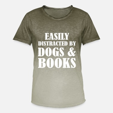 Dogs And Books easily distracted by dogs and books - Men's T-Shirt with colour gradients