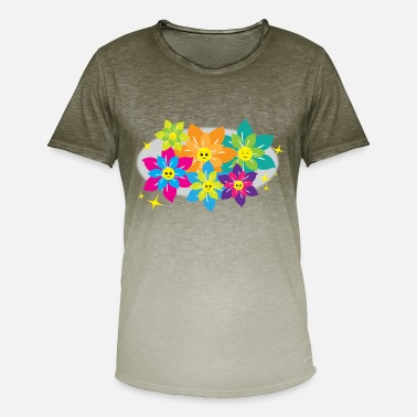 Floral Motive Sweet floral pattern with faces - children motive - Men's T-Shirt with colour gradients