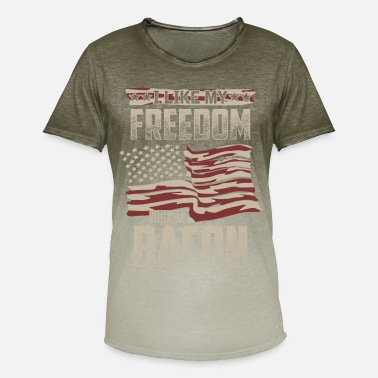 Old Glory American Flag Gift Bacon Lover Freedom Banner Men Women - Men's T-Shirt with colour gradients