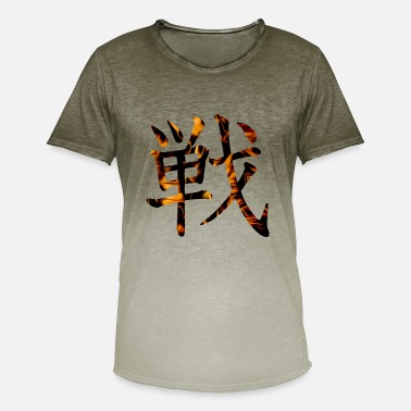 Kanji War Fight Battle Flame - T-shirt med färgtoning herr