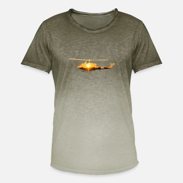 Atmosphere Helicopter with atmospheric sunset - Men's T-Shirt with colour gradients