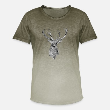 Stags Head Stag - Spirit of the Heart People - Men's T-Shirt with colour gradients