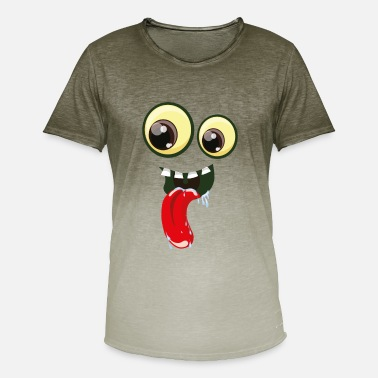 Loopy Eyes with mouth and tongue - Men's Colour Gradient T-Shirt