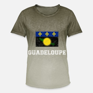 Guadeloupe Guadeloupe flag Gwda gave - T-shirt i colour-block-optik mænd