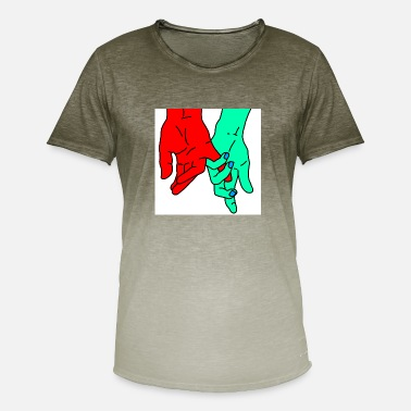 Red Hand hands red green - Men's T-Shirt with colour gradients