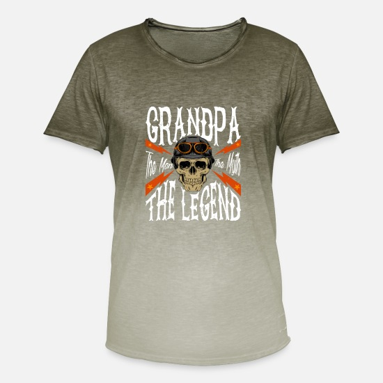 Molonas Camisetas - Grandpa The Man The Myth The Legend Tshirt Gift f - Camiseta degradada hombre Dip Dye khaki