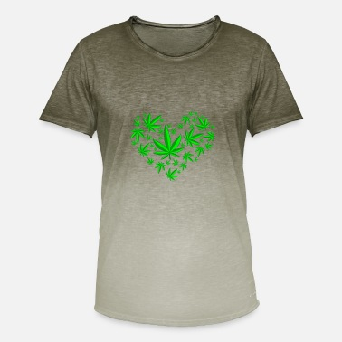 Cannabis-heart Cannabis Heart i Love Beat - Men's T-Shirt with colour gradients