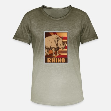 Ungulate Retro rhino poster - Men's Colour Gradient T-Shirt