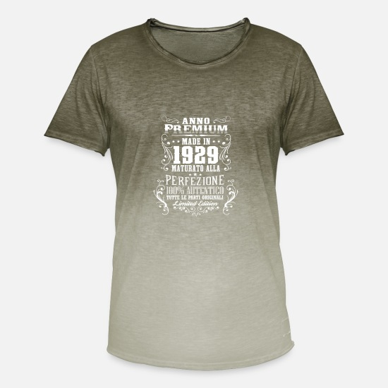 Birthday T-Shirts - 1929 89 Anno Premium Compleanno Regalo IT - Men's Colour Gradient T-Shirt dip dye khaki