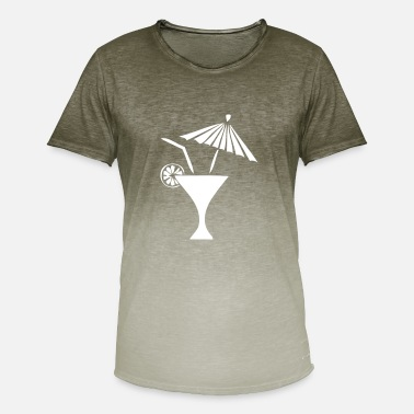 Drinking Straw Cocktail umbrella straw lemon drink - Men's T-Shirt with colour gradients