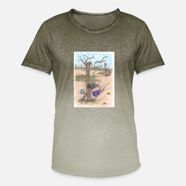 Tree Running woman falls' slides and hits a tree. - Men's Colour Gradient T-Shirt