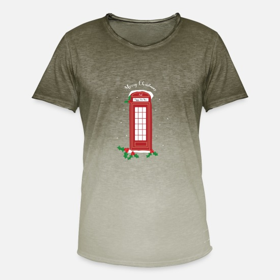 Travel T-Shirts - London Christmas Telephone Booth Logo Gift Idea - Men's Colour Gradient T-Shirt dip dye khaki