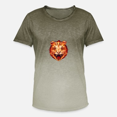 Flame Cats Tiger in flames - Men's Colour Gradient T-Shirt