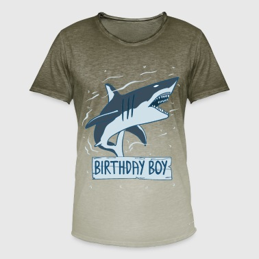 Litte Boy Cute Sharks Birthday Boy Shirt - Men's T-Shirt with colour gradients