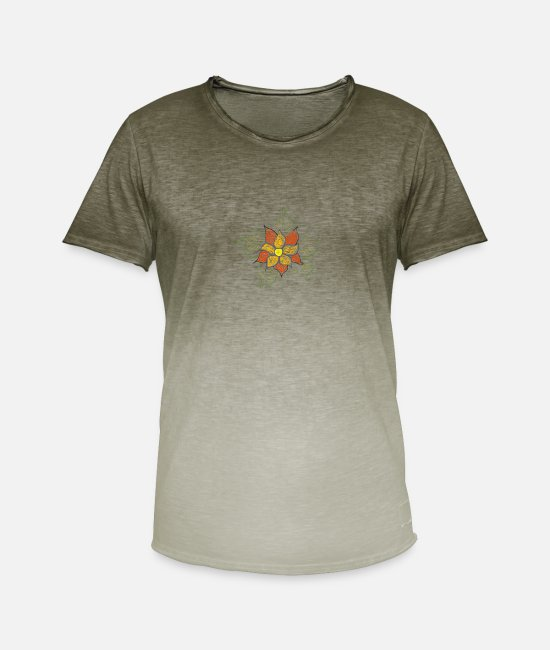 Drawing T-Shirts - flower - Men's Colour Gradient T-Shirt dip dye khaki
