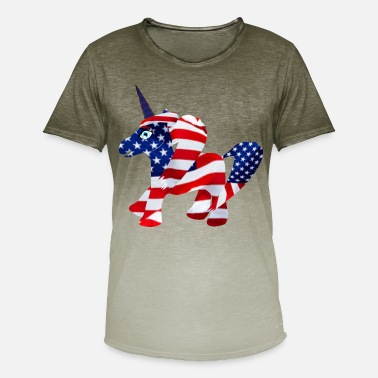 America Unicorn Unicorn USA Flag America Gift Patriot - Men's Colour Gradient T-Shirt