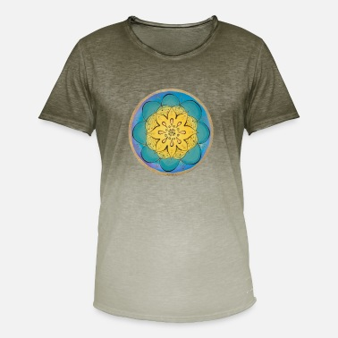 Painted Mandala hand painted by Sylvia Polis - Men's Colour Gradient T-Shirt