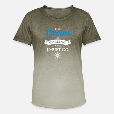 Is The Ocean Is Calling And I Must Go - T-shirt i colour-block-optik mænd