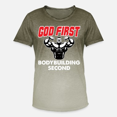God God First - Bodybuilding Second - Men's Colour Gradient T-Shirt