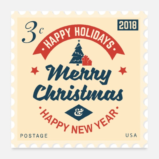 Christmas Poster - Briefmarke - Merry Christmas & Happy New Year - Poster Weiß