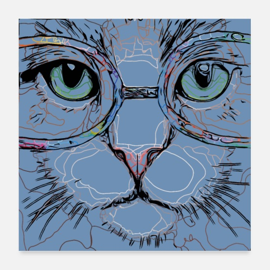 Grafisk Posters - Psycho Cat - Posters hvid