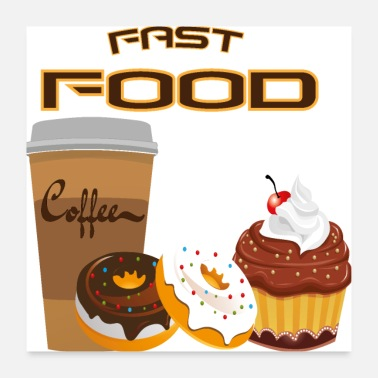Fast Food Fast Food T-Shirt, Food, Donut, Muffin, Soft Drink - Poster