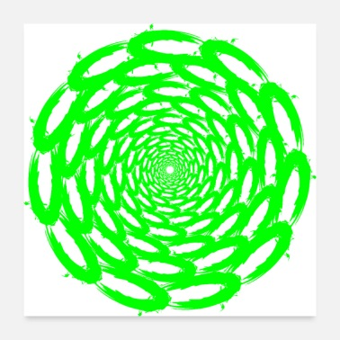 Tempest Optical illusion deep circle design green - Poster