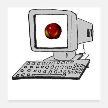 Pc PC and a fresh apple in the 90s - Poster