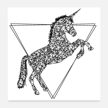 Stylish Cool, stylish unicorn made of lines and triangles - Poster
