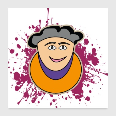 Cartoon grandma - Poster 24 x 24 (60x60 cm)