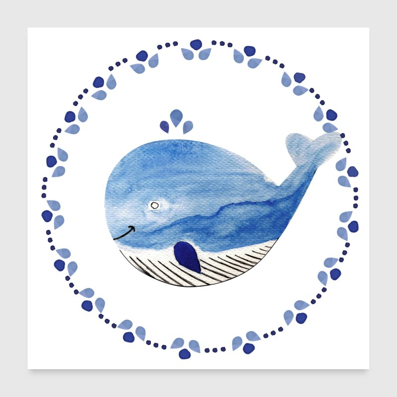 Little whale poster - Poster 24 x 24 (60x60 cm)