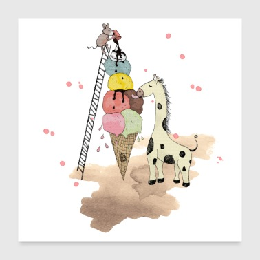 Wildlife Icecream Poster - Poster 60x60 cm