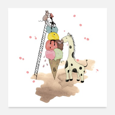 Kirahvi Wildlife Icecream - Juliste 60x60 cm